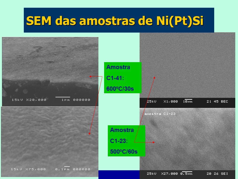 SEM das amostras de Ni(Pt)Si Amostra C1-41: 600ºC/30s Amostra C1-23: 500ºC/60s