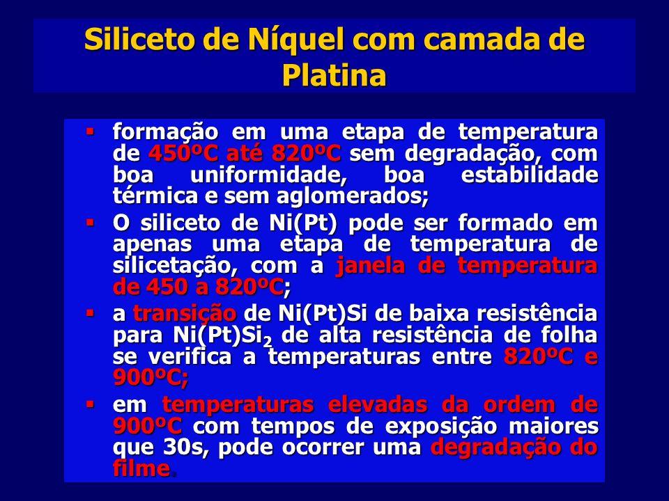 Siliceto de Níquel com camada de Platina formação em uma etapa de temperatura de 450ºC até 820ºC sem degradação, com boa uniformidade, boa estabilidade térmica e sem aglomerados; formação em uma etapa de temperatura de 450ºC até 820ºC sem degradação, com boa uniformidade, boa estabilidade térmica e sem aglomerados; O siliceto de Ni(Pt) pode ser formado em apenas uma etapa de temperatura de silicetação, com a janela de temperatura de 450 a 820ºC; O siliceto de Ni(Pt) pode ser formado em apenas uma etapa de temperatura de silicetação, com a janela de temperatura de 450 a 820ºC; a transição de Ni(Pt)Si de baixa resistência para Ni(Pt)Si 2 de alta resistência de folha se verifica a temperaturas entre 820ºC e 900ºC; a transição de Ni(Pt)Si de baixa resistência para Ni(Pt)Si 2 de alta resistência de folha se verifica a temperaturas entre 820ºC e 900ºC; em temperaturas elevadas da ordem de 900ºC com tempos de exposição maiores que 30s, pode ocorrer uma degradação do filme.