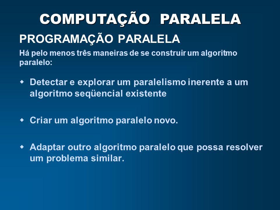 COMPUTAÇÃO PARALELA PROGRAMAÇÃO PARALELA Detectar e explorar um paralelismo inerente a um algoritmo seqüencial existente Criar um algoritmo paralelo n