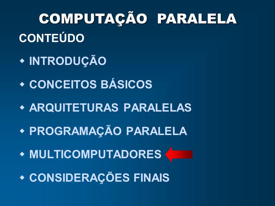 COMPUTAÇÃO PARALELA CONTEÚDO INTRODUÇÃO CONCEITOS BÁSICOS ARQUITETURAS PARALELAS PROGRAMAÇÃO PARALELA MULTICOMPUTADORES CONSIDERAÇÕES FINAIS