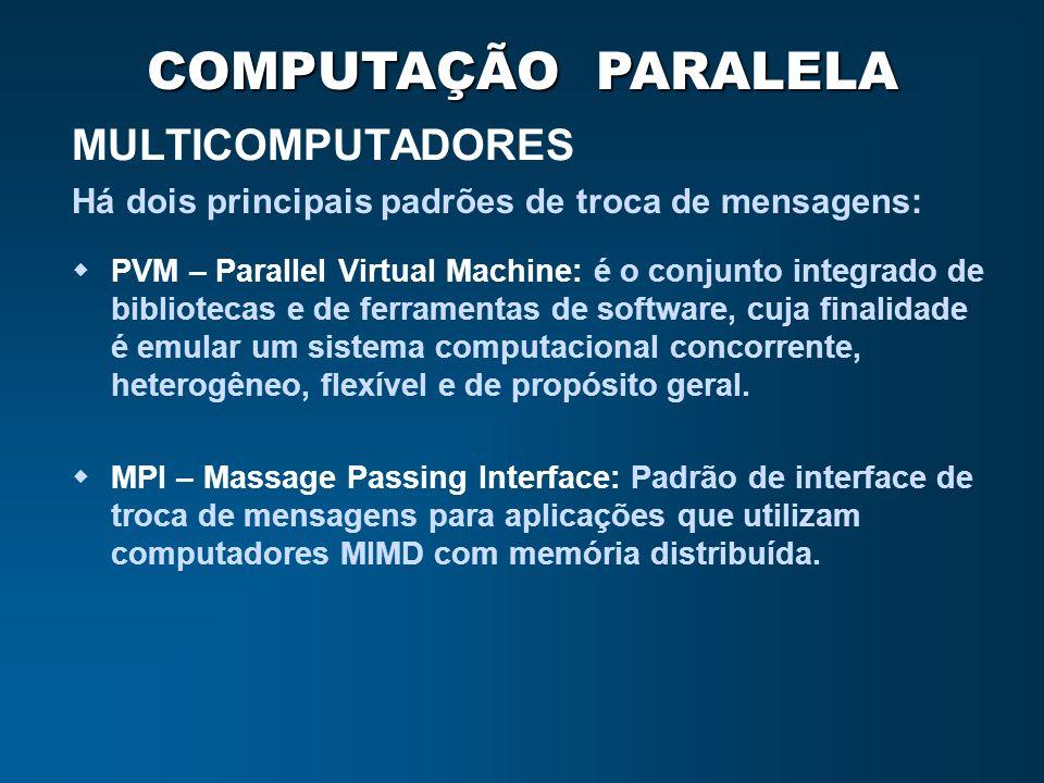 COMPUTAÇÃO PARALELA MULTICOMPUTADORES PVM – Parallel Virtual Machine: é o conjunto integrado de bibliotecas e de ferramentas de software, cuja finalid