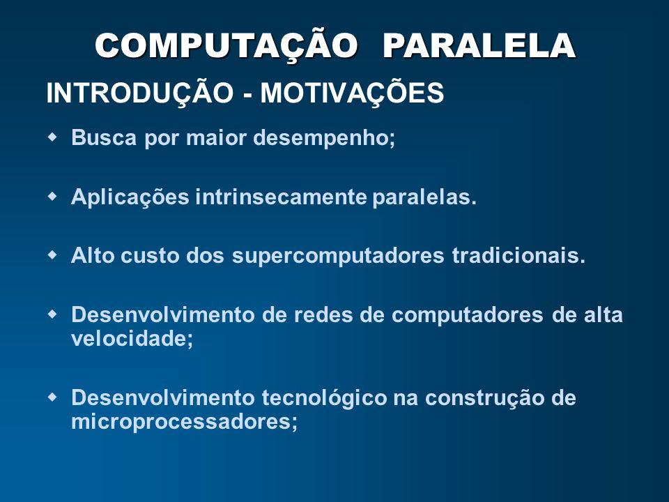 COMPUTAÇÃO PARALELA INTRODUÇÃO - MOTIVAÇÕES Busca por maior desempenho; Aplicações intrinsecamente paralelas. Alto custo dos supercomputadores tradici