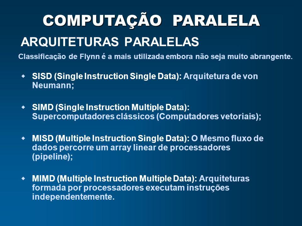COMPUTAÇÃO PARALELA ARQUITETURAS PARALELAS SISD (Single Instruction Single Data): Arquitetura de von Neumann; SIMD (Single Instruction Multiple Data):