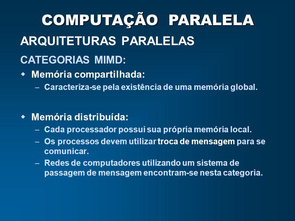 COMPUTAÇÃO PARALELA ARQUITETURAS PARALELAS CATEGORIAS MIMD: Memória compartilhada: – Caracteriza-se pela existência de uma memória global. Memória dis
