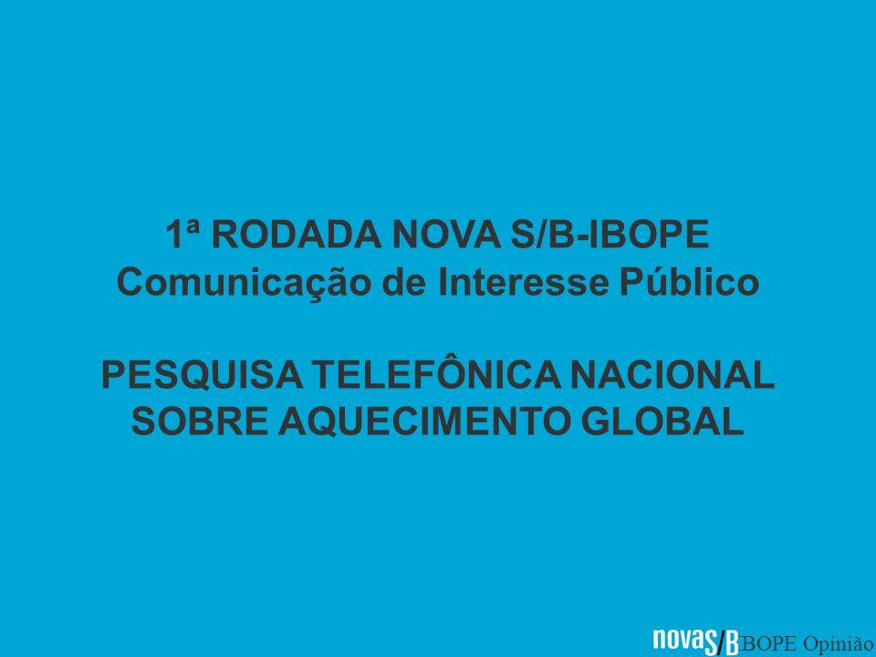 IBOPE Opinião 1ª RODADA NOVA S/B-IBOPE Comunicação de Interesse Público PESQUISA TELEFÔNICA NACIONAL SOBRE AQUECIMENTO GLOBAL