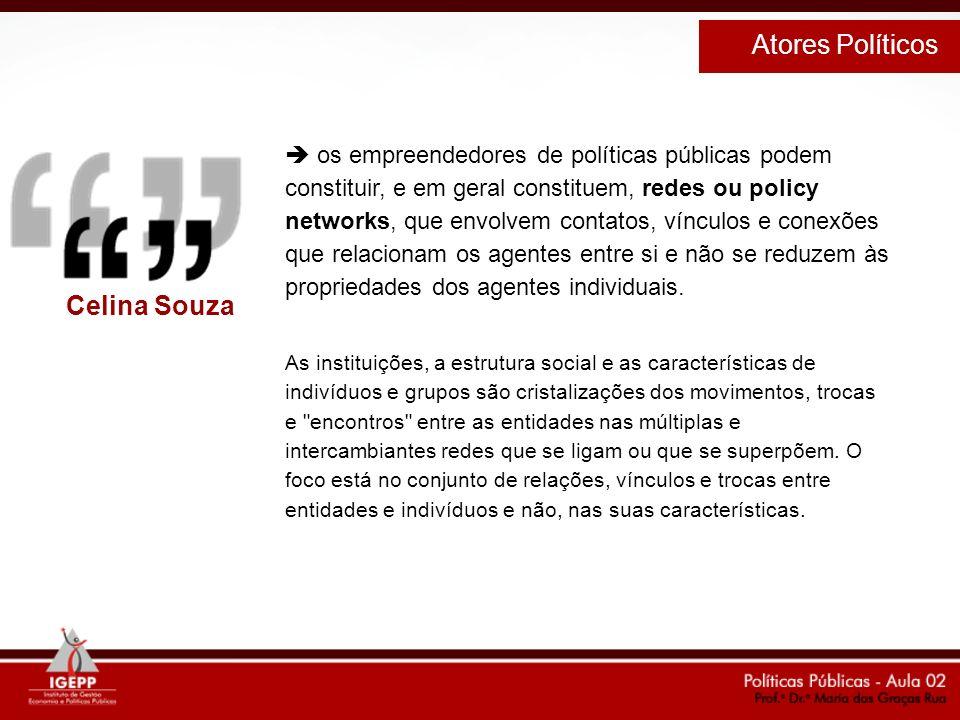 os empreendedores de políticas públicas podem constituir, e em geral constituem, redes ou policy networks, que envolvem contatos, vínculos e conexões