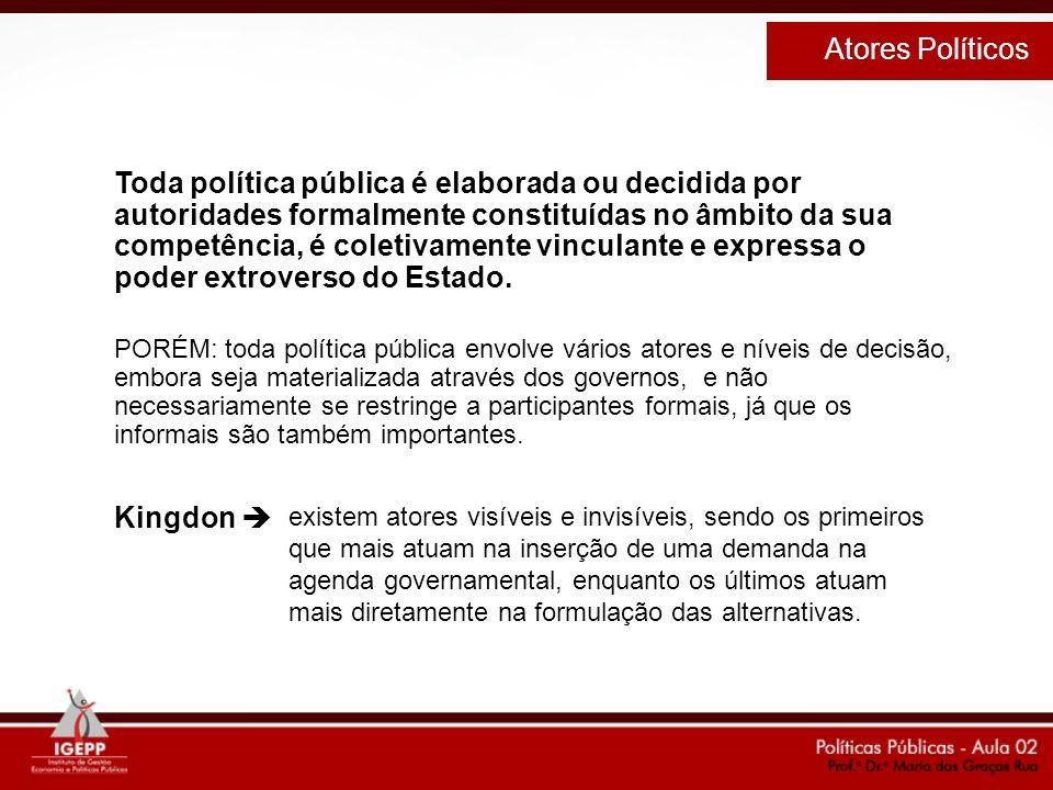 Toda política pública é elaborada ou decidida por autoridades formalmente constituídas no âmbito da sua competência, é coletivamente vinculante e expr