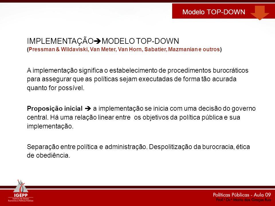 IMPLEMENTAÇÃO MODELO TOP-DOWN (Pressman & Wildaviski, Van Meter, Van Horn, Sabatier, Mazmanian e outros) A implementação significa o estabelecimento d