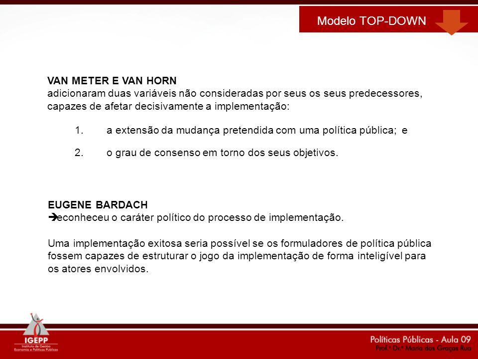 1.a extensão da mudança pretendida com uma política pública; e 2.o grau de consenso em torno dos seus objetivos. Modelo TOP-DOWN VAN METER E VAN HORN