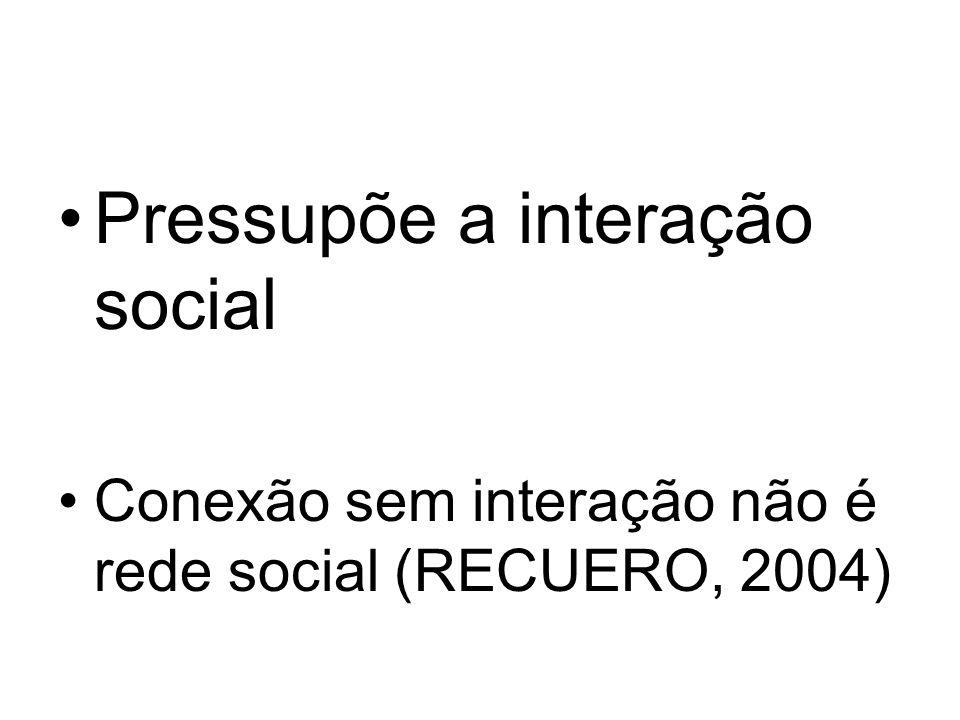 Pressupõe a interação social Conexão sem interação não é rede social (RECUERO, 2004)