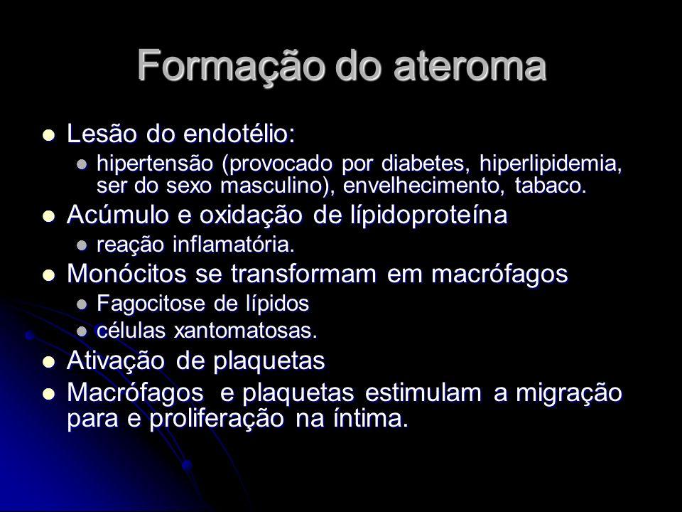 Formação do ateroma Lesão do endotélio: Lesão do endotélio: hipertensão (provocado por diabetes, hiperlipidemia, ser do sexo masculino), envelheciment
