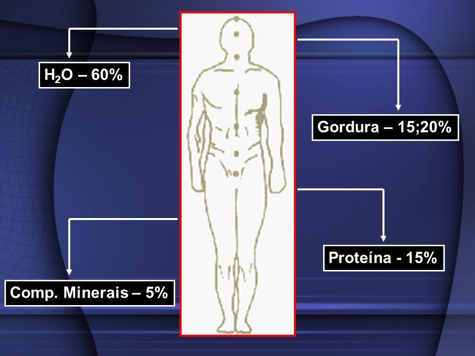H 2 O – 60% Gordura – 15;20% Proteína - 15% Comp. Minerais – 5%