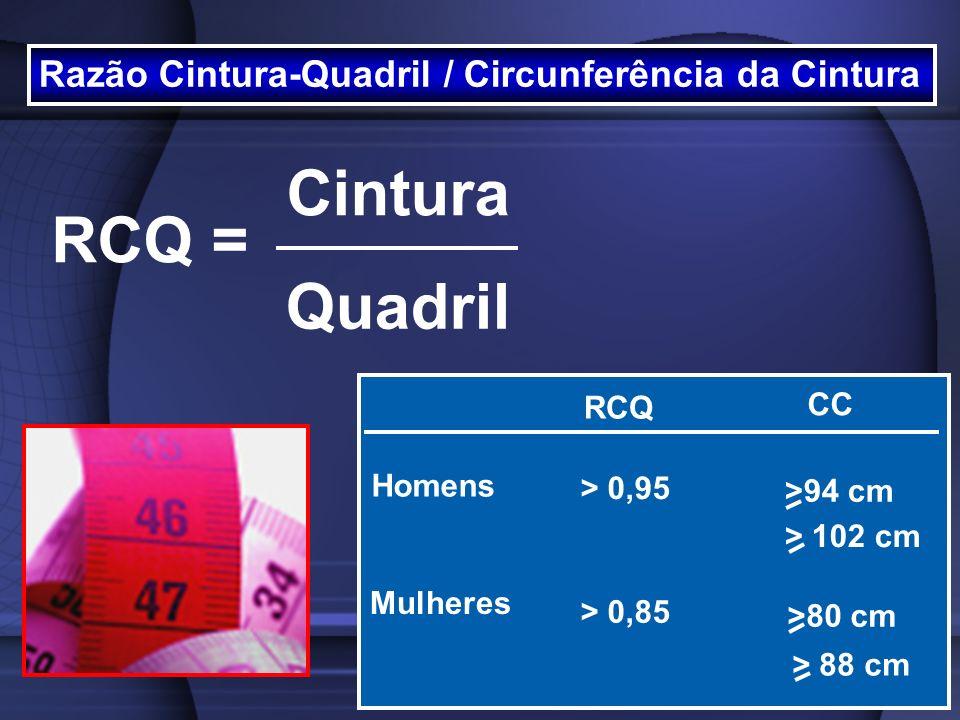 Razão Cintura-Quadril / Circunferência da Cintura RCQ = Cintura Quadril RCQ CC Homens Mulheres >94 cm >80 cm > 0,95 > 0,85 > 102 cm > 88 cm