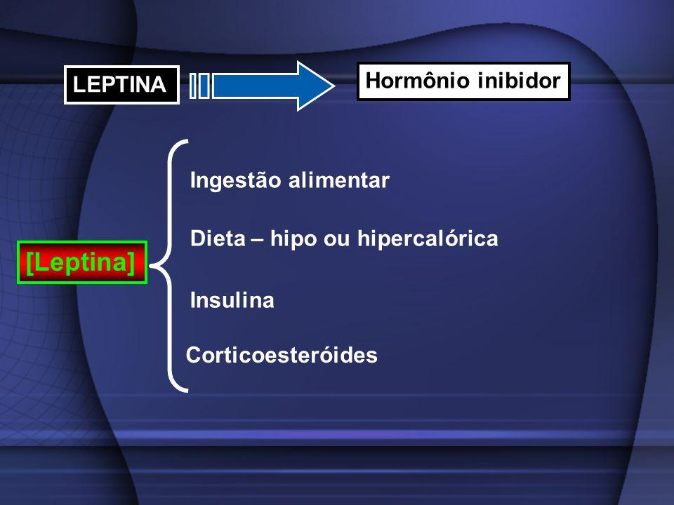 LEPTINA Hormônio inibidor [Leptina] Ingestão alimentar Dieta – hipo ou hipercalórica Insulina Corticoesteróides