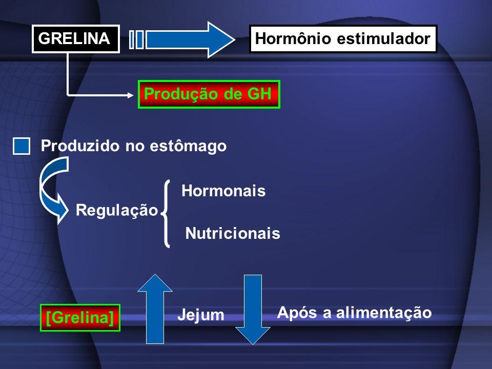 GRELINAHormônio estimulador Produção de GH Produzido no estômago Regulação Hormonais Nutricionais [Grelina] Jejum Após a alimentação