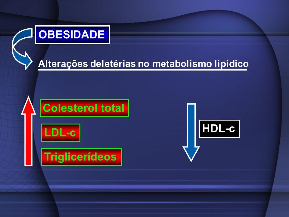 OBESIDADE Alterações deletérias no metabolismo lipídico Colesterol total LDL-c Triglicerídeos HDL-c