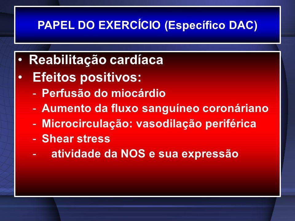 PAPEL DO EXERCÍCIO (Específico DAC) Reabilitação cardíaca Efeitos positivos: -Perfusão do miocárdio -Aumento da fluxo sanguíneo coronáriano -Microcirc