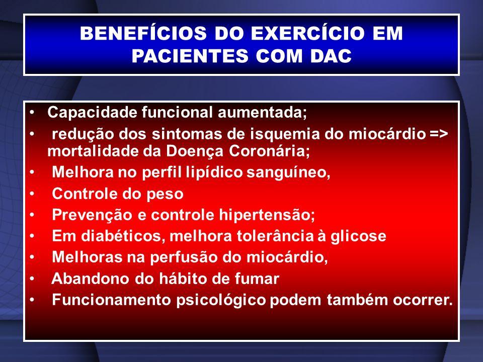 BENEFÍCIOS DO EXERCÍCIO EM PACIENTES COM DAC Capacidade funcional aumentada; redução dos sintomas de isquemia do miocárdio => mortalidade da Doença Co