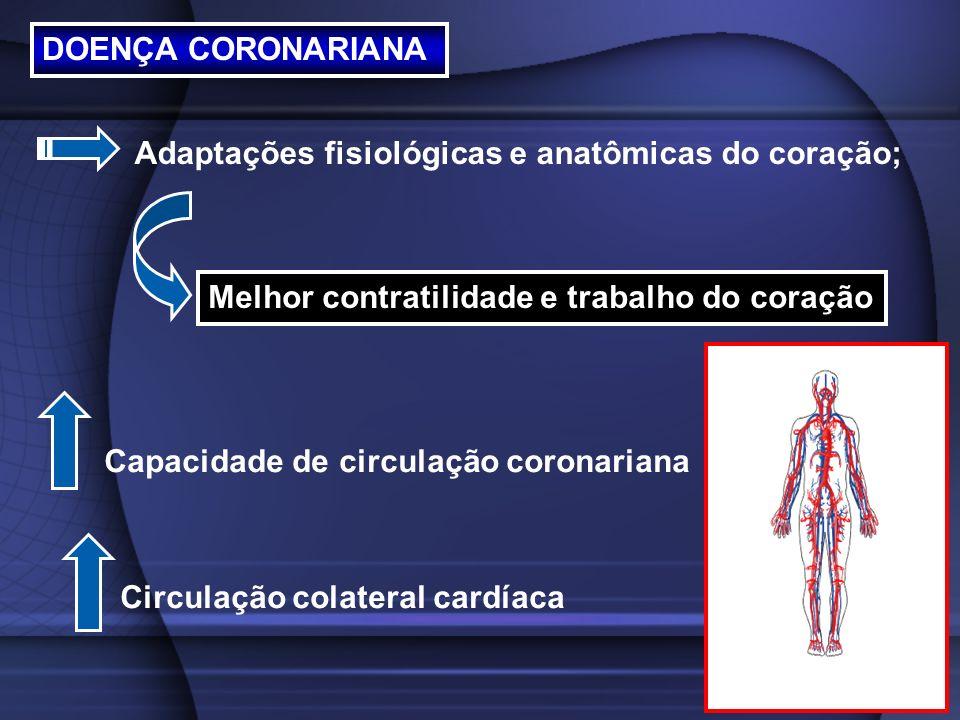 DOENÇA CORONARIANA Adaptações fisiológicas e anatômicas do coração; Melhor contratilidade e trabalho do coração Capacidade de circulação coronariana C