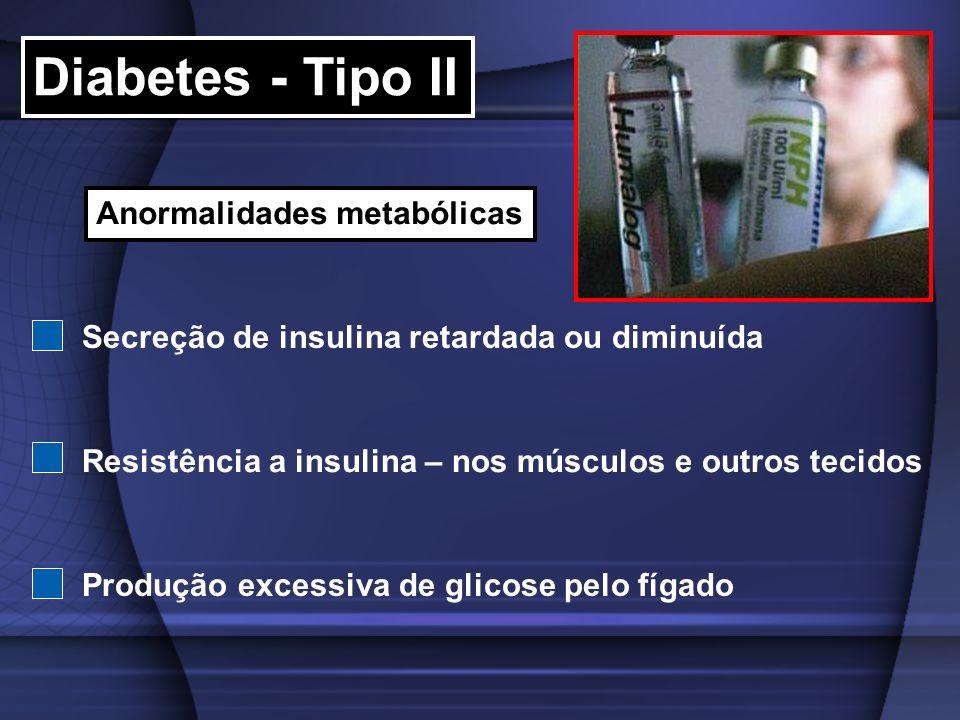 Diabetes - Tipo II Anormalidades metabólicas Secreção de insulina retardada ou diminuída Resistência a insulina – nos músculos e outros tecidos Produç