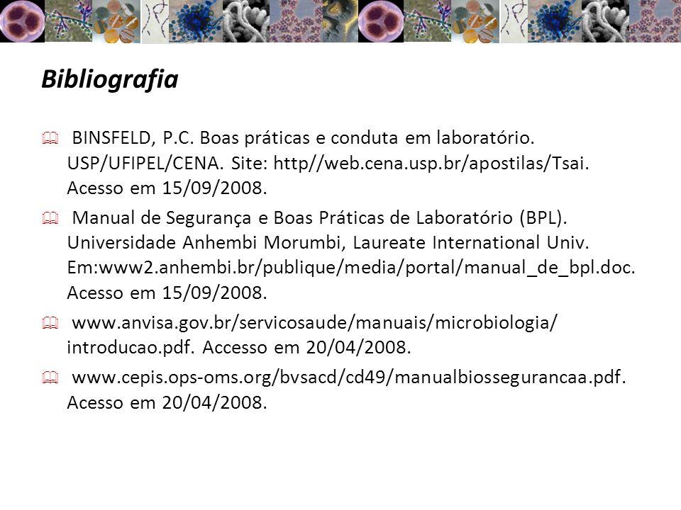 Bibliografia BINSFELD, P.C. Boas práticas e conduta em laboratório. USP/UFIPEL/CENA. Site: http//web.cena.usp.br/apostilas/Tsai. Acesso em 15/09/2008.