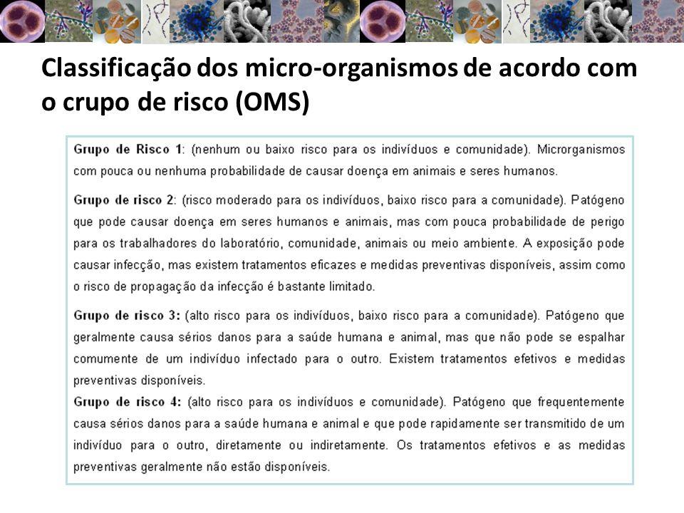 Classificação dos micro-organismos de acordo com o crupo de risco (OMS)