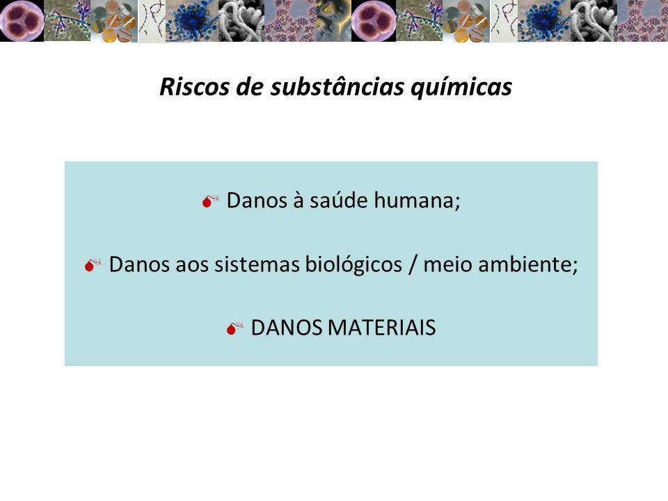 Classificação de riscos Inflamáveis (éter, gasolina, querosene); Explosivos (ácido pícrico, TNT); Comburentes ou oxidantes (O 2, H 2 O 2 ); Corrosivos e irritantes (soda cáustica); Tóxicos ou muito tóxicos (benzeno); Nocivos (tolueno); Cancerígenos e mutagênicos (actidiona); Persistentes no meio ambiente (CFC).