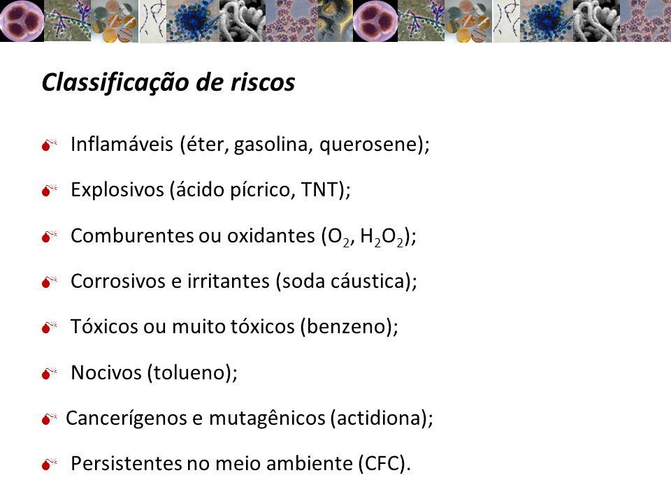 Classificação de riscos Inflamáveis (éter, gasolina, querosene); Explosivos (ácido pícrico, TNT); Comburentes ou oxidantes (O 2, H 2 O 2 ); Corrosivos