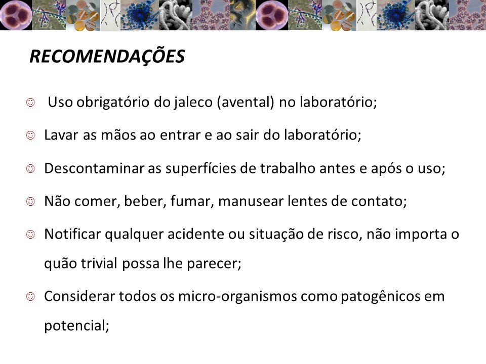 Bibliografia BINSFELD, P.C.Boas práticas e conduta em laboratório.