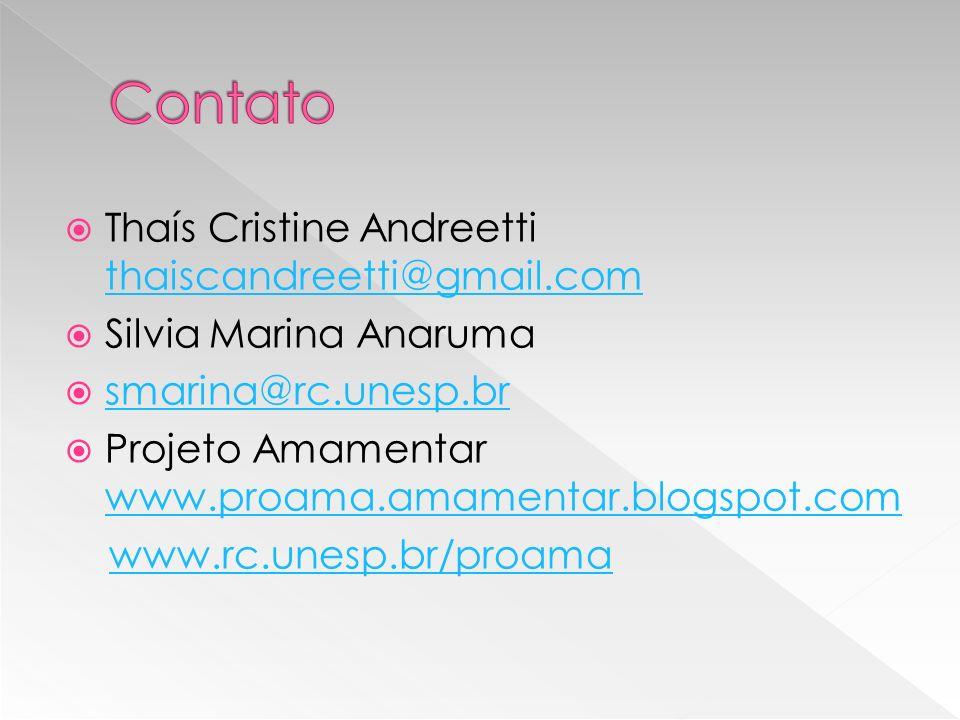 Thaís Cristine Andreetti thaiscandreetti@gmail.com thaiscandreetti@gmail.com Silvia Marina Anaruma smarina@rc.unesp.br Projeto Amamentar www.proama.amamentar.blogspot.com www.proama.amamentar.blogspot.com www.rc.unesp.br/proama