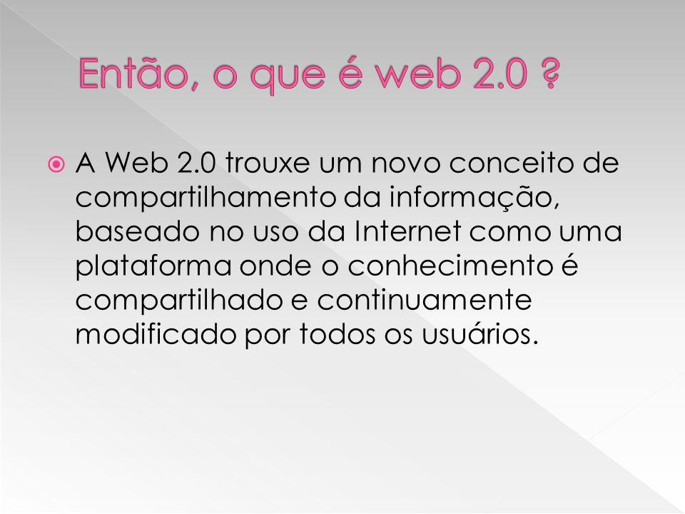 A Web 2.0 trouxe um novo conceito de compartilhamento da informação, baseado no uso da Internet como uma plataforma onde o conhecimento é compartilhado e continuamente modificado por todos os usuários.