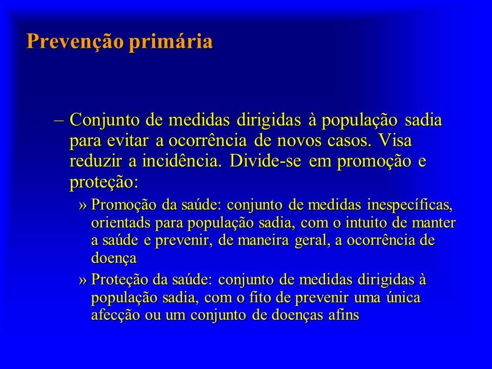 Prevenção primária –Conjunto de medidas dirigidas à população sadia para evitar a ocorrência de novos casos.