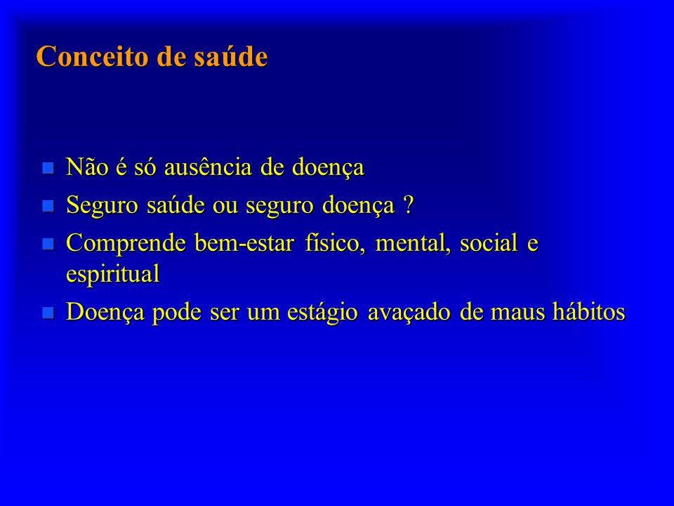 Conceito de saúde n Não é só ausência de doença n Seguro saúde ou seguro doença .
