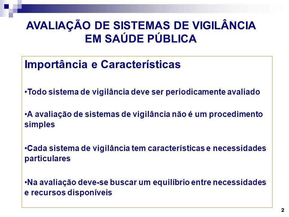 2 AVALIAÇÃO DE SISTEMAS DE VIGILÂNCIA EM SAÚDE PÚBLICA Importância e Características Todo sistema de vigilância deve ser periodicamente avaliado A ava