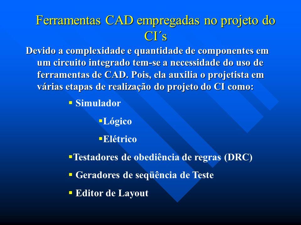 Ferramentas CAD empregadas no projeto do CI´s Devido a complexidade e quantidade de componentes em um circuito integrado tem-se a necessidade do uso d