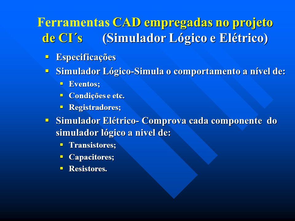 CAD empregadas no projeto de CI´s (Simulador Lógico e Elétrico) Ferramentas CAD empregadas no projeto de CI´s (Simulador Lógico e Elétrico) Especifica