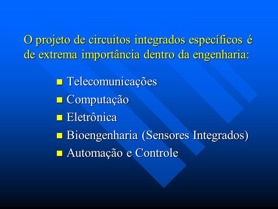 O projeto de circuitos integrados específicos é de extrema importância dentro da engenharia: Telecomunicações Telecomunicações Computação Computação E