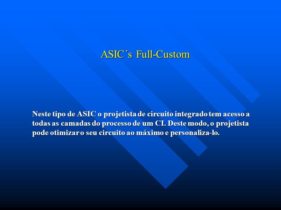 ASIC´s Full-Custom Neste tipo de ASIC o projetista de circuito integrado tem acesso a todas as camadas do processo de um CI. Deste modo, o projetista