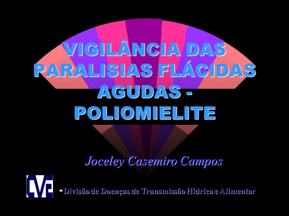VIGILÂNCIA DAS PARALISIAS FLÁCIDAS AGUDAS - POLIOMIELITE - Divisão de Doenças de Transmissão Hídrica e Alimentar Joceley Casemiro Campos