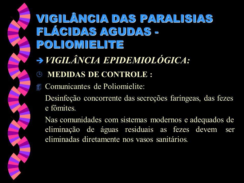 VIGILÂNCIA DAS PARALISIAS FLÁCIDAS AGUDAS - POLIOMIELITE è VIGILÂNCIA EPIDEMIOLÓGICA: ¹ MEDIDAS DE CONTROLE : 4 Comunicantes de Poliomielite: Desinfeç