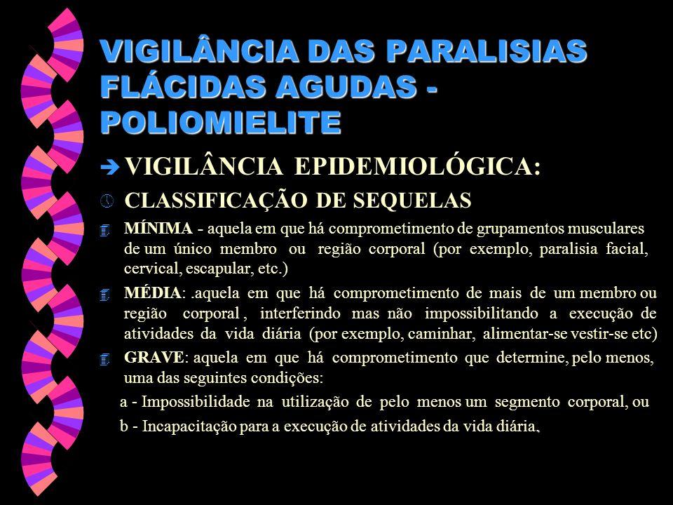 VIGILÂNCIA DAS PARALISIAS FLÁCIDAS AGUDAS - POLIOMIELITE è VIGILÂNCIA EPIDEMIOLÓGICA: » CLASSIFICAÇÃO DE SEQUELAS 4 MÍNIMA - aquela em que há comprome