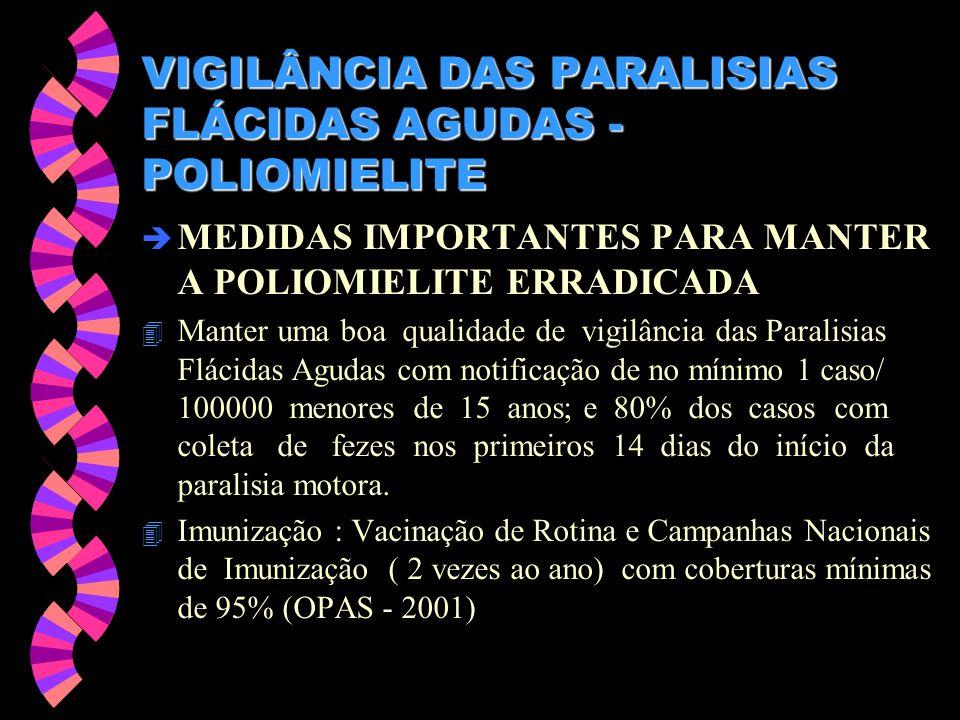 VIGILÂNCIA DAS PARALISIAS FLÁCIDAS AGUDAS - POLIOMIELITE è MEDIDAS IMPORTANTES PARA MANTER A POLIOMIELITE ERRADICADA 4 Manter uma boa qualidade de vig