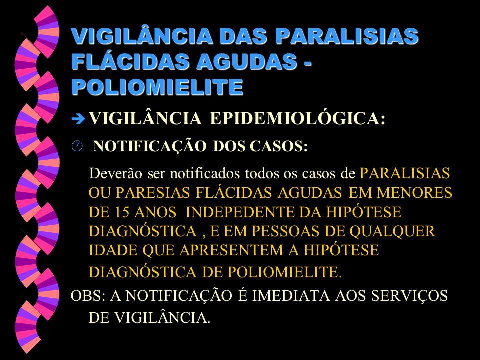 VIGILÂNCIA DAS PARALISIAS FLÁCIDAS AGUDAS - POLIOMIELITE è VIGILÂNCIA EPIDEMIOLÓGICA: · NOTIFICAÇÃO DOS CASOS: Deverão ser notificados todos os casos