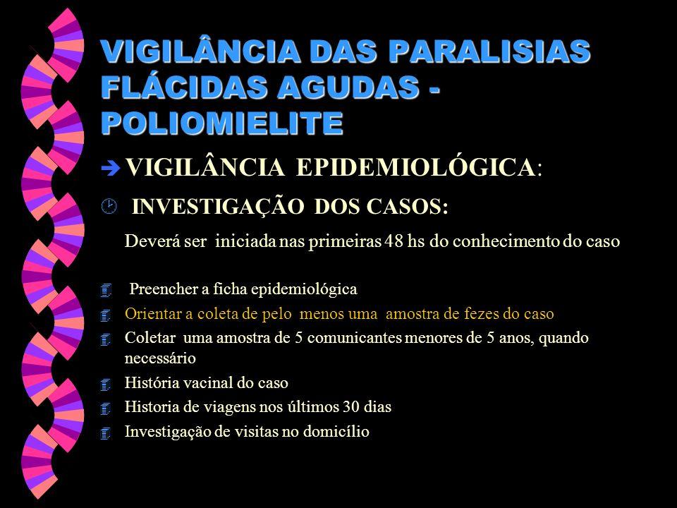 VIGILÂNCIA DAS PARALISIAS FLÁCIDAS AGUDAS - POLIOMIELITE è VIGILÂNCIA EPIDEMIOLÓGICA: ¸ INVESTIGAÇÃO DOS CASOS: Deverá ser iniciada nas primeiras 48 h