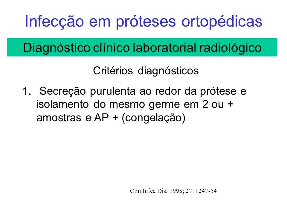 Infecção em próteses ortopédicas Clin Infec Dis.1998; 27: 1247-54 Critérios diagnósticos 1.