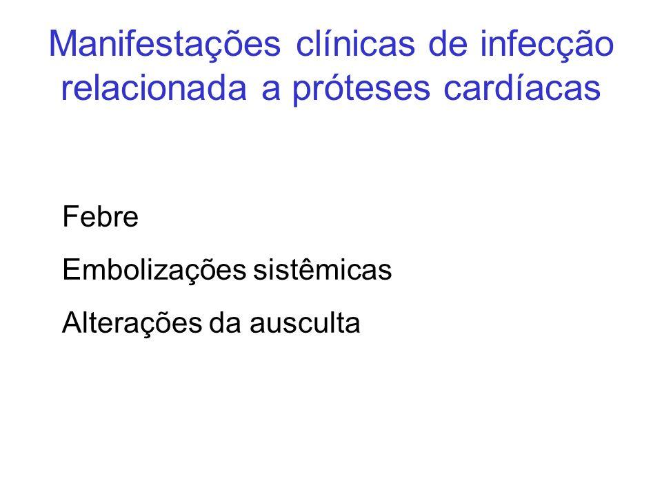 Manifestações clínicas de infecção relacionada a próteses cardíacas Febre Embolizações sistêmicas Alterações da ausculta