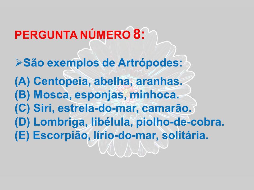 PERGUNTA NÚMERO 8: São exemplos de Artrópodes: (A) Centopeia, abelha, aranhas. (B) Mosca, esponjas, minhoca. (C) Siri, estrela-do-mar, camarão. (D) Lo