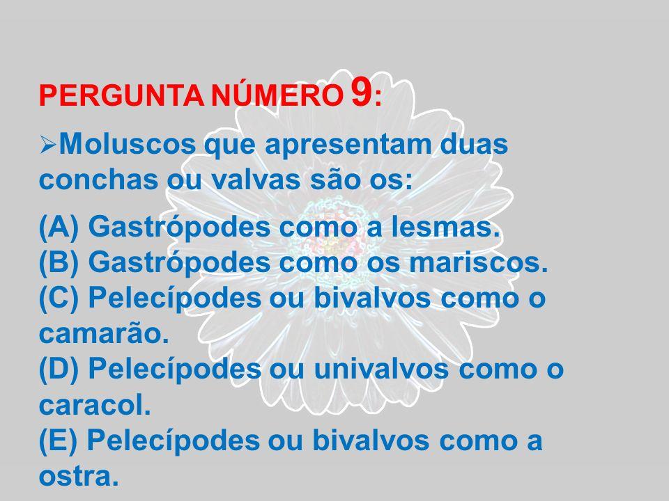 PERGUNTA NÚMERO 9 : Moluscos que apresentam duas conchas ou valvas são os: (A) Gastrópodes como a lesmas. (B) Gastrópodes como os mariscos. (C) Pelecí