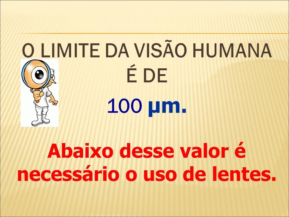 O LIMITE DA VISÃO HUMANA É DE 100 μm. Abaixo desse valor é necessário o uso de lentes.