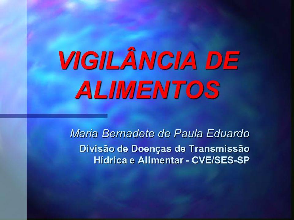 VIGILÂNCIA DE ALIMENTOS Maria Bernadete de Paula Eduardo Divisão de Doenças de Transmissão Hídrica e Alimentar - CVE/SES-SP